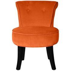 FAUTEUIL Petit fauteuil crapaud velours orange Louis
