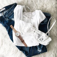 Make your outfit instantly girly with a chic lace bralette.