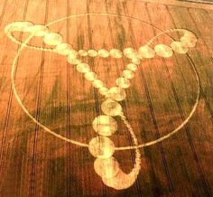 Crop circle forming a connected 666.