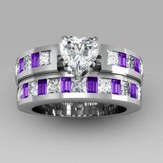 Heart Cut Black Engagement Ring / Wedding Ring Set for Women Engagement Wedding Ring Sets, Wedding Sets, Wedding Rings, Wedding Band, Amethyst Gem, Bridal Sets, White Sapphire, Luxury Jewelry, Beautiful Rings