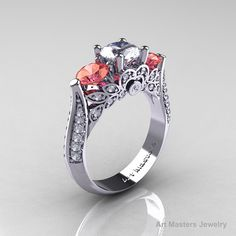 Classic 14K White Gold Three Stone White and Peach by artmasters, $1559.00
