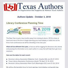 Are you ready for library's to learn about your book? These are the 3 top programs to get noticed at. We have the best prices to help you succeed. Learn more in this edition of the Authors Update. Conference Planning, Authors, Texas, How To Get, Writing, Learning, Books, Top, Livros