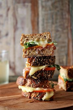 Could This Be The Ultimate Grilled Cheese Sandwich?  brie, persimmon, prosciutto, arugula, YUM