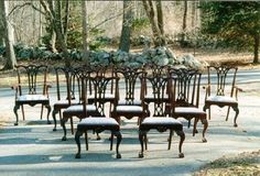Set of twelve American Chippendale ball and claw foot centennial chairs