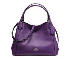 Coach Edie 28 Shoulder Bag In Polished Pebble Leather (Silver/Violet)