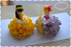 Set of Two Loopy Puff Princesses Belle Rapunzel by ShopClaireBows, $15.00