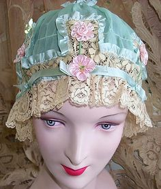 Vintage Blue Chiffon Ribbon and Pink Silk Rosettes Boudoir Cap