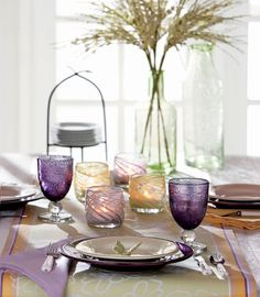 pretty pastel tablescape with purple bubble glass for spring and mother's day
