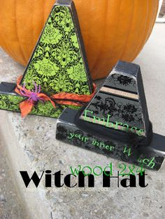 I turned some left over wood scraps into a couple of cute wooden witch hats! I painted the wood mod podged paper to the front glue. Halloween Wood Crafts, 2x4 Crafts, Wood Block Crafts, Scrap Wood Projects, Wooden Crafts, Fall Halloween, Craft Projects, Halloween Ideas, Wood Blocks
