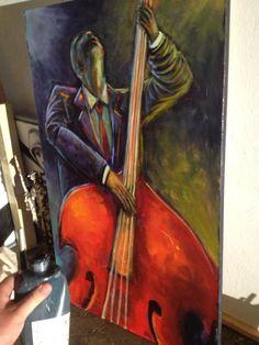 "Patrick Shanahan's latest. ""The Bass Player""  #local #artist #Raleigh #NC #painting #uprightbass #jazz #art"