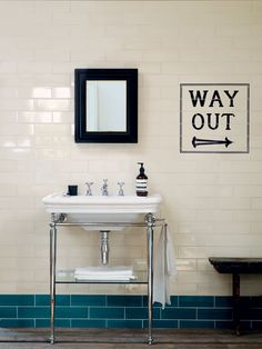 Awesome London Underground inspired bathroom tiles 'way out' Edwardian bathroom Metro Tiles Bathroom, Loft Bathroom, Bathroom Basin, Family Bathroom, Bathroom Renos, Small Bathroom, Bathroom Ideas, Colourful Bathroom Tiles, Bathroom Border Tiles