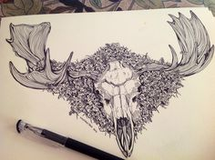 Moose skull commission in progress for a very lovely client. Next stop is to paint
