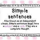 This resource contains 2 charts describing and or defining simple and compound sentence types and two corresponding worksheets. It suits a grade 2 ...