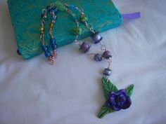 Purple Rain Rose  Necklace handmade clay sculpted by BlueOpera, $32.00