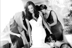 Gorgeous Bride getting more gorgeous with the help of her bridesmaids!  Check out our latest photography pins on Pinterest <3    www.lotuseyesphotography.com  contact@lotuseyesphotography.com
