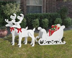Medium Elegant Reindeer and Sleigh Display – christmas decorations Outside Christmas Decorations, Christmas Lights Outside, Hanging Christmas Lights, Christmas Yard Art, Christmas Wood, Christmas Projects, Christmas Ornaments, Reindeer Christmas, Outdoor Reindeer Decorations
