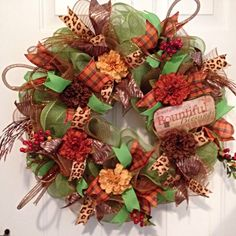 Fall Deco Mesh Wreath, Fall Wreath, Autumn Wreath, Harvest Wreath, Floral Wreath, Green and Rust Colored Wreath, Fall Welcome Wreath by LadySlipperWreaths on Etsy