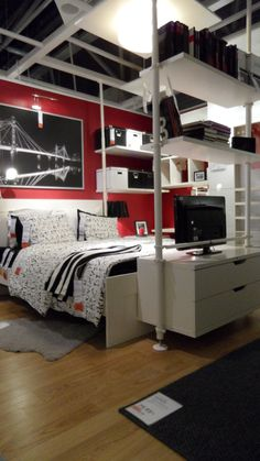 ikea - bedroom   : instead of closet divider, a fabric divider and a dressing room design on the other half: garden and plants in the extra room :)