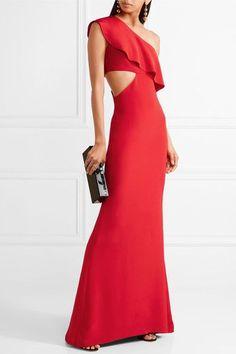 Cushnie et Ochs - Bea One-shoulder Cutout Silk Crepe De Chine Gown - Claret