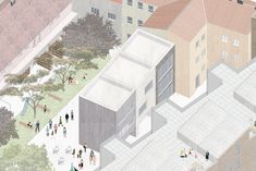 Pavla Maxová - Diploma thesis - city block in Brno - mix used houses - social, student and normal apartments, commercial spaces - townhouses