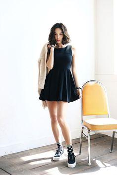 back v pleated dress
