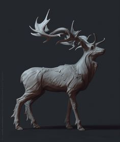 Stalker Stag on Behance 3d Model Character, Character Design, Zbrush, Animal Sculptures, Sculpture Art, Toy Art, Creature Concept, Rodin, Creature Design