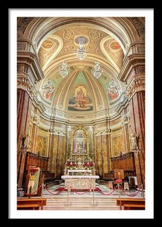 Joan Carroll Framed Print featuring the photograph Cathedral In Bagnoregio #bagnoregio #civita #italy #orvieto #rome #church #cathedral #altar #dome #nave #photography @joancarroll Visit joan-carroll.pixels.com for more #art #photography #fashion and #homedecor items from #ITALY and around the world! +JoanCarroll