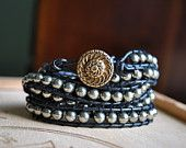 Beaded Leather Wrap Bracelet Charcoal Pearls by SarahWhiteJewelry