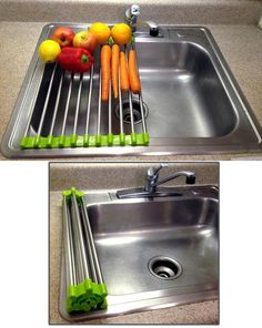 Shop for Folding Drain Rack, Washing Station - Stainless Steel - Extra Counter SPACE! at 11 Main. Kitchen Tools, Kitchen Gadgets, Kitchen Dining, Kitchen Sinks, Kitchen Ideas, Kitchen Board, Kitchen Updates, Kitchen Supplies, Kitchen Redo