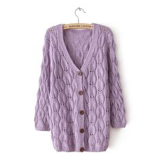 Sweet Purple Leaves Hollow Out knit &Cardigan