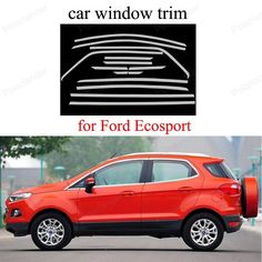 94.40$  Buy here - http://ali5lb.worldwells.pw/go.php?t=32744143676 -  decorative Stainless Steel For Ford Ecosport Window Frame Trim Cover  Car Styling 94.40$