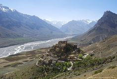 Kee Gompa monastery in the Himalayas , Spiti Valley , India