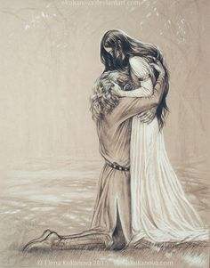 This reminds me of Tamlin when he gets Feyre back in ACOMAF. Obviously Feyre is faking because she's just that great of an actress. Someday... by ekukanova.