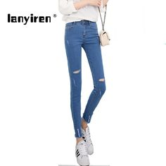 High Waist Woman Jeans Ripped Denim Pants Holes in knees Skinny sexy Bottom Women Slim Trousers Summer leggins Pencil Pants * AliExpress Affiliate's buyable pin. Detailed information can be found on www.aliexpress.com by clicking on the image