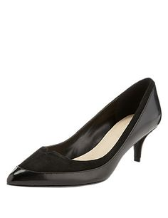 Black Mix Leather Pointed Toe Wide Fit Court Shoes with Insolia®.  Not too high, so I could probably get away with wearing them.
