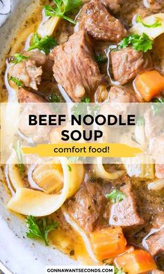 4 reviews · 2.5 hours · Serves 4 · *NEW* Fall-apart beef, rich broth, tender veggies, and noodles come together in my Beef Noodle Soup! Cold nights have met their match with this warming dinner. #BeefandNoodles #Noodles #Soup #BeefSoup Veggie Recipes, Pasta Recipes, Beef Recipes, Soup Recipes, Dinner Recipes, Healthy Recipes, Lunch Recipes, Drink Recipes, Delicious Recipes