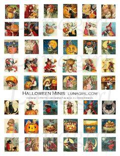 Vintage Halloween Minis Inchies Digital Collage Sheet