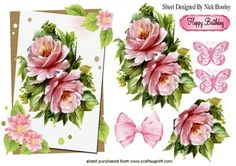 PRETTY PINK ROSES WITH BUTTERFLIES AND BOW on Craftsuprint designed by Nick Bowley - PRETTY PINK ROSES WITH BUTTERFLIES AND BOW, Makes a pretty card, also can be seen in A5 Oval pyramids - Now available for download!