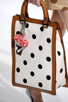 Polka dot leather rimmed satchel by Luella Dots Fashion, Fashion Bags, Do It Yourself Fashion, Clutch Bag, Tote Bag, Beautiful Bags, Purses And Handbags, Leather Bag, Brown Leather