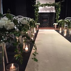 Denisa and Shane's intimate cosy @encorestkilda ceremony setup by @stylerepublic01 Loved the colour and warmth of the floral and candle lined aisle  Congrats D&S on a beautiful day