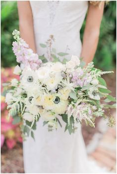 Anemone and Astilbe Bouquet with lilic, whites and greens