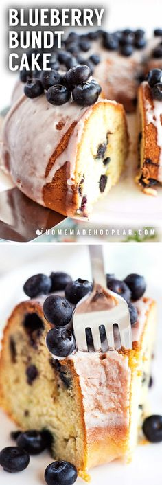 Blueberry Bundt Cake! This deliciously soft and crumbly sour cream blueberry bundt cake is chock-full of fresh (or frozen!) blueberries and topped with a simple sugar glaze. | HomemadeHooplah.com Blueberry Bundt Cake Recipes, Dessert Cake Recipes, Desserts, Bunt Cakes, Cupcake Cakes, Cupcakes, Simple Sugar, Sugar Glaze, Strawberry Cakes