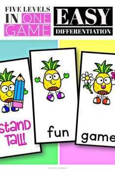 Here's a fast-paced phonics and sight word game featuring a cheerful pineapple theme appropriate for ALL ages. Add these cards to your small groups and centers! #phonics #sightwords #centers