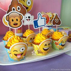 wrappers-imprimibles-emojis Emoji Theme Party, Party Themes, 10th Birthday Parties, 13th Birthday, Fiesta Party, Unicorn Party, Invitation, Emoji 2, Emoji Cake