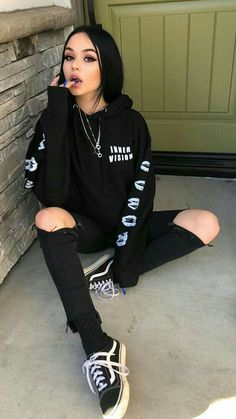 Looks Com Vans Old Skool - 20 looks estilos com from old school - { fave outfits - outfit - looks } - Roupas Ideias Bad Girl Outfits, Skater Girl Outfits, Edgy Outfits, Cute Casual Outfits, Mode Outfits, Grunge Outfits, Fashion Outfits, Fashion Ideas, Black Outfit Grunge