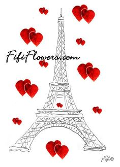 Eiffel Valentines painting from Fifi Flowers #Paris #ValentinesDay #Love #Fifi