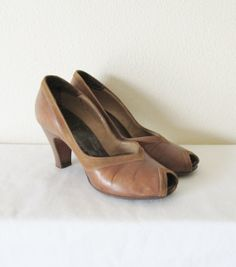 Vintage 1940's Heels / Brown Leather 40's Shoes / by JLVintage, $78.00