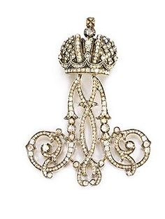 Empress Maria Feodorovna Diamond-Set Lady-In-Waiting Cipher Pendant formed  as initial M below the Imperial crown and set w rose-cut diamonds 866b72b0a52e
