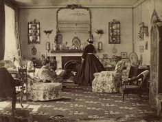 """Vintage Home We love old photos from inside homes that give a glimpse in to daily life. Such is the case with this 1865 photo called """"Interieur"""" taken by Lady Frances Jocelyn. - We hope you enjoy these photos as much as we enjoyed putting them together! Victorian House Interiors, Victorian Living Room, Victorian Parlor, Victorian Life, Victorian Photos, Victorian Furniture, Victorian Decor, Vintage Interiors, Antique Photos"""