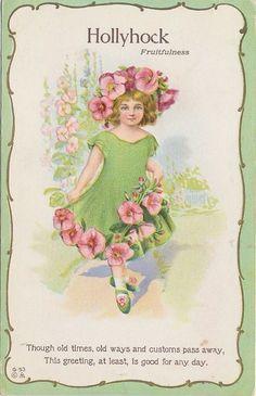 5917 1910 Postcard Greeting Hollyhock Flower Hat Fantasy Little Girl Flower | eBay